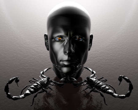 3D men head with two metal scorpions photo