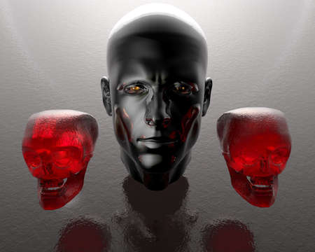 3d men head with two red glass skulls photo