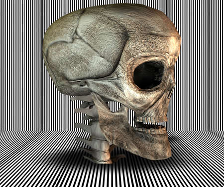 3D big realistic skull on stripes background photo