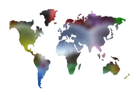 world map silhouette isolated on white Stock Photo - 3840743