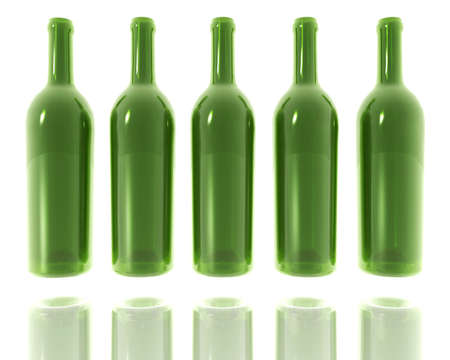 5 green glass bottles isolated on white photo
