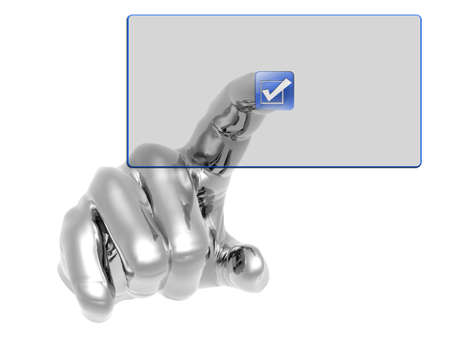 3D hand pushing transparent button isolated on white