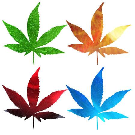 hanf: 4 blankem Metall canabis leaf isolated on white Lizenzfreie Bilder