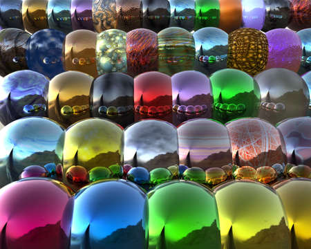 mirrored: 3d bright colorful mirrored balls