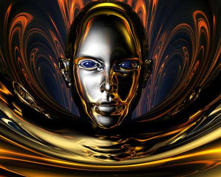 strange metal 3D girl creative background photo