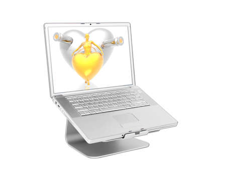 powerbook: Laptop with 3d golden virtual girl with golden hearts on the screen isolated on white