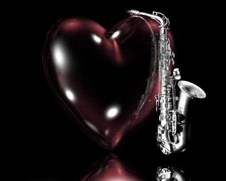 heart and saxaphone creative background photo
