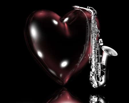 brass wind: heart and saxaphone creative background Stock Photo