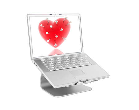 powerbook: Laptop with 3d hearts isolated on white