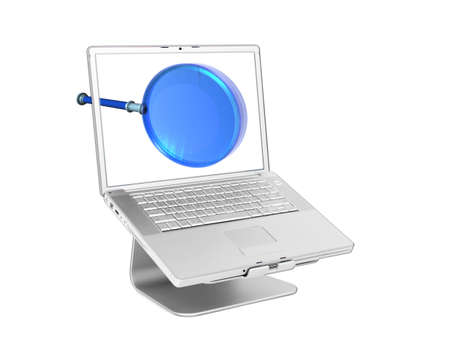 powerbook: Laptop with 3d magnifying glass isolated on white