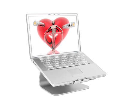 Laptop with 3d golden virtual girl with golden hearts on the screen isolated on white photo