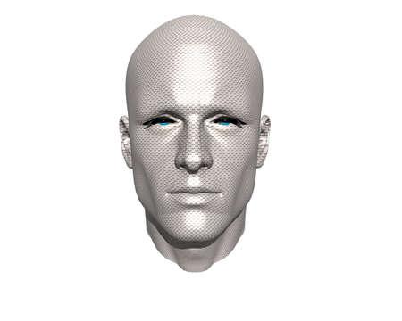 mental object: 3D hombres cara con textura aisladas en blanco Foto de archivo