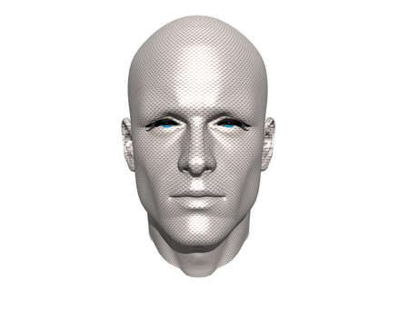 3D men face with texture isolated on white
