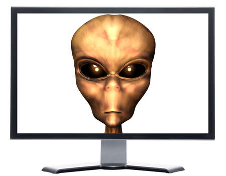 kidnapper: monitor with 3D alien head isolated on white