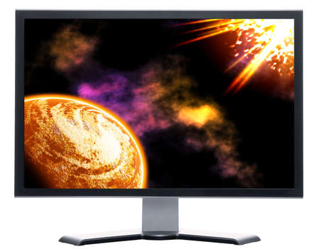 monitor with moon and sun abstract space background photo