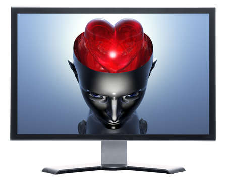 monitor with 3D heart in 3D cyborg girl head isolated on white photo