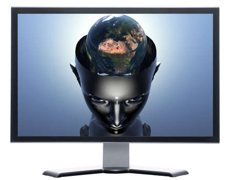 monitor with 3D earth in 3D cyborg girl head isolated on white photo