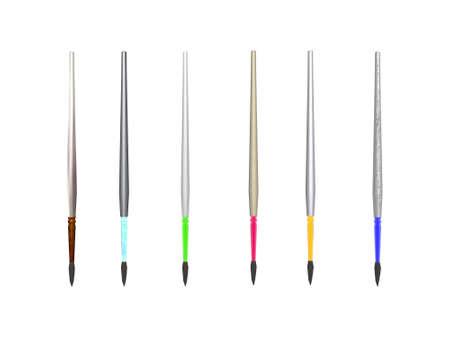 6 colorful paint-brushes isolated on white photo