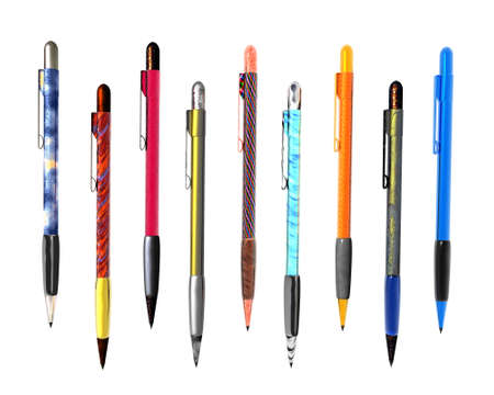 9 colorful pen isolated on white background Stock Photo - 3840915