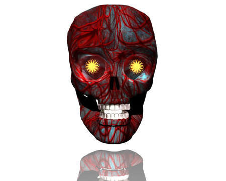 3D big realistic patterned skull isolated on white Stock Photo - 3840133
