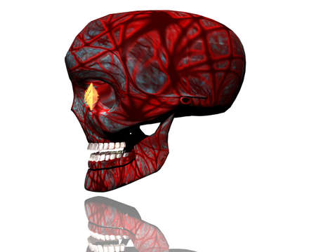 3D big realistic patterned skull isolated on white Stock Photo - 3840085