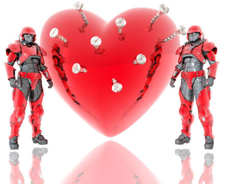 3d soldiers ward a red 3d heart background isolated on white photo