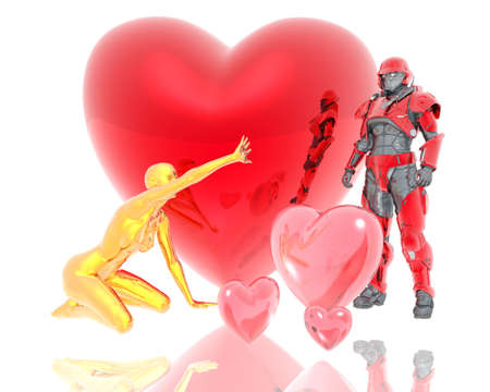 3d soldier and golden girl with a red 3d heart background isolated on white photo