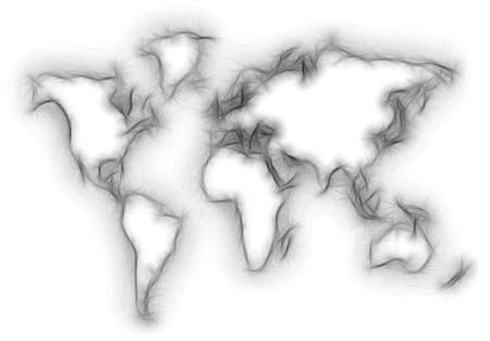 blurred world map silhouette isolated on white
