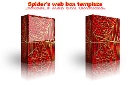2 spider golden web box template on white background with red fur photo