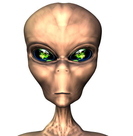 alien portrait with earth eyes isolated on white Stock Photo