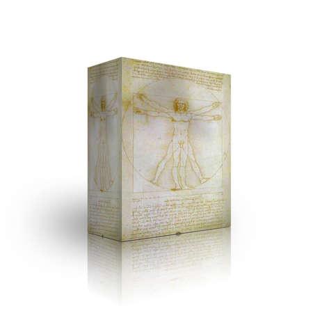 Il modello di uomo vitruviano casella su sfondo bianco  Archivio Fotografico - 3855523