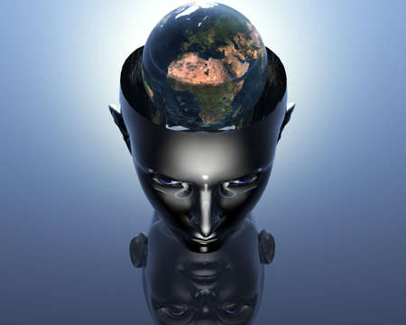 3D earth in 3D cyborg girl head  Stock Photo - 3855505