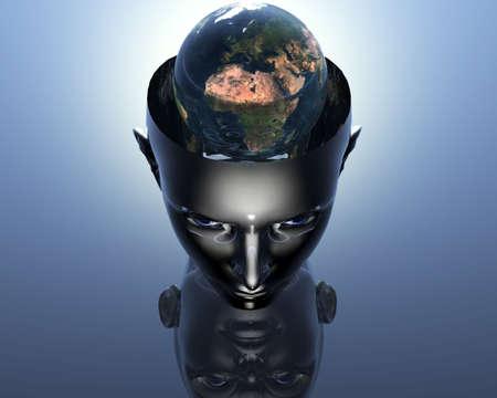 3D earth in 3D cyborg girl head  photo