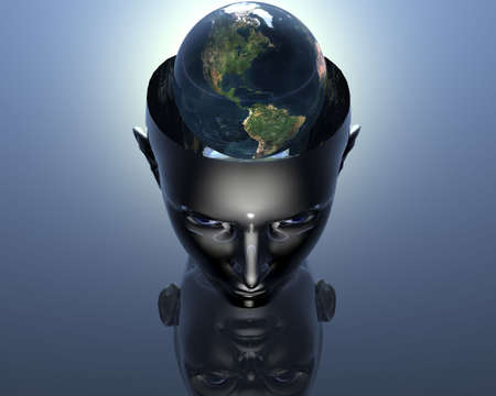 human geography: 3D earth in 3D cyborg girl head