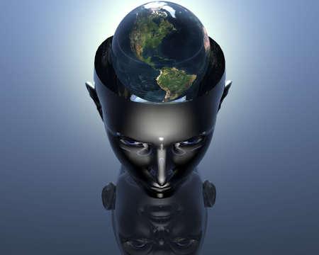 3D earth in 3D cyborg girl head Stock Photo - 3855462