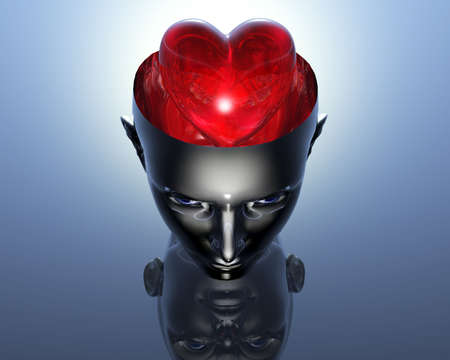 3D heart in 3D cyborg girl head  photo