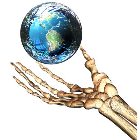 human geography: 3D earth in bones hand