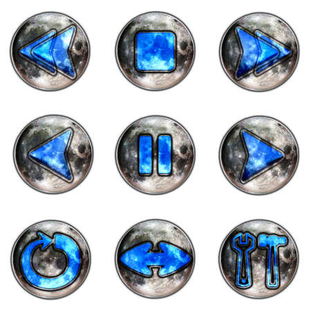 forwards: lunar player buttons isolated on white