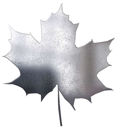 metallic maple leaf isolated on white Stock Photo - 3855605