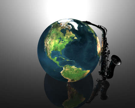 earth and saxaphone creative background photo