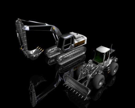heavy building bulldozer and excavator on a black background Stock Photo - 3855732