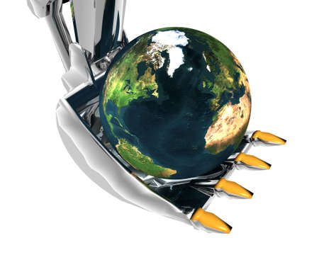 packer: earth and excavator creative background Stock Photo