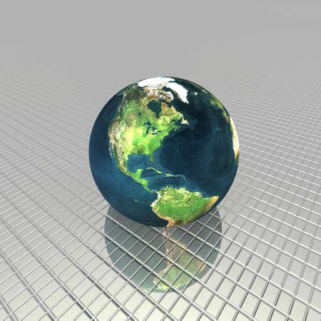 3D globe on the stripes background photo