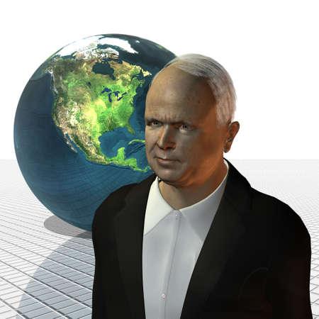 senate race: John McCain 3d model on a white