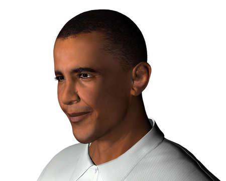senate race: Barack Obama 3d model isolated on a white background Editorial