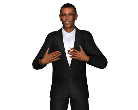 obama: Barack Obama 3d model isolated on a white background Editorial