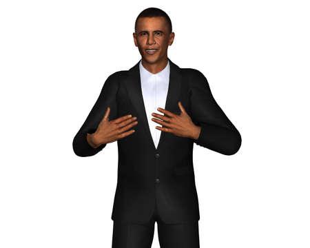 delegar: Barack Obama modelo 3D aisladas sobre fondo blanco