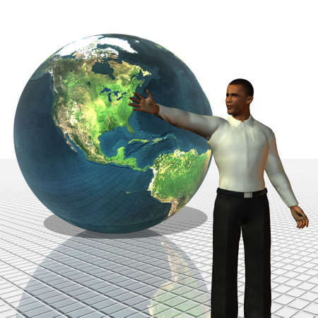 election debate: Barack Obama 3d model with globe in background