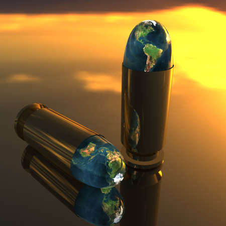 bright 3D golden bullet with earth texture photo