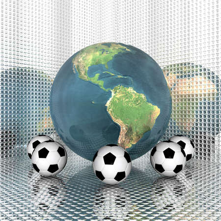 3d Soccer ball with earth Stock Photo